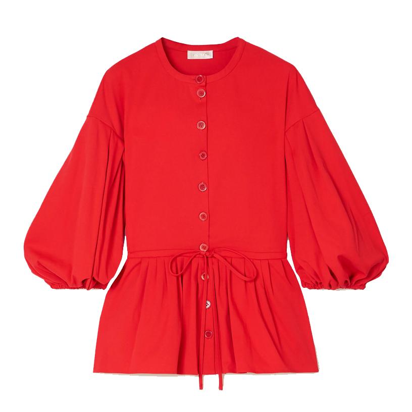 stine goya ferrah cotton blend jersey peplum blouse