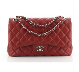Quilted Caviar Jumbo Classic Double Flap Bag by CHANEL
