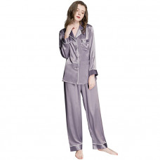 lonxu womens silk Satin pajamas set button down sleepwear loungewear xs 3xl