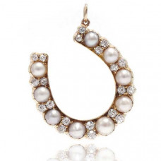 ashley zhang victorian diamond and pearl horseshoe pendant