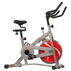 sunny health and fitness indoor cycling stationary bike with lcd display 30 lb flywheel 265 max weight and adjustable felt resistance