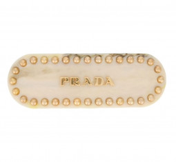 Logo and Studs Hair Clip by Prada