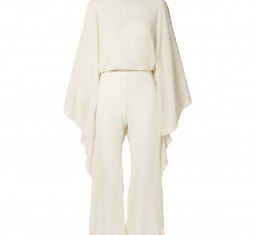 + Net Sustain Open-back Leather-trimmed Cotton-gauze Jumpsuit by Caravana