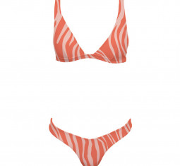 Halterneck Triangle Zebra Swimsuit by Manebi