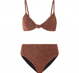Marta and Mykela Twist-front Stretch-lurex bikini by Caroline Constas