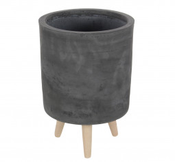 Contemporary Round Gray Clay Indoor and Outdoor Planters with Mid-century Wooden Legs by DecMode