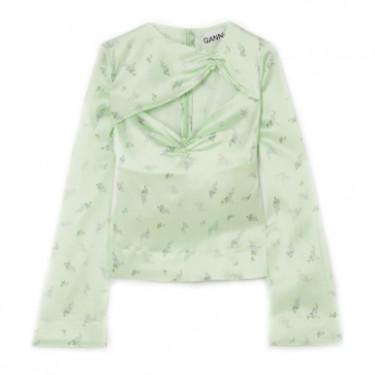 ganni cutout ruched floral print stretch silk satin top