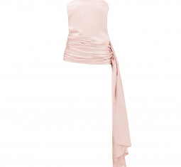 Strapless Draped Wool-blend Satin Top by Marina Moscone