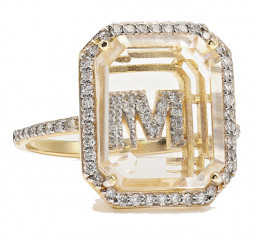 14-karat Gold, Crystal and Diamond Ring by Mateo