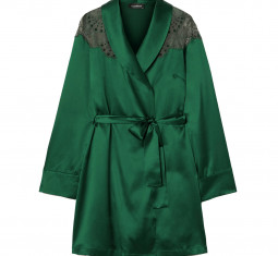 Embroidered Tulle-trimmed Silk-blend Satin Robe by I.D. Sarrieri