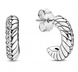 Pavé Snake Chain Pattern Hoop Earrings by Pandora