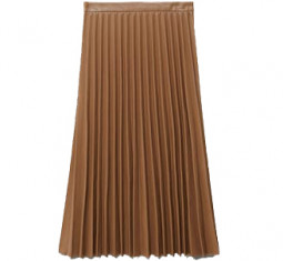 Faux-leather Pleated Skirt by Mango