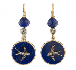 Antique Lapis Swallow Earrings by TrademarkAntiques