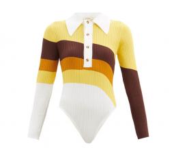 Hera Striped Ribbed-knit Bodysuit by Dodo Bar Or